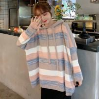 Wool knitwear Autumn 2020 M 85-100kg, l 100-120kg, xl120-140kg, 2xl140-160kg, 3xl160-180kg, 4xl180-200kg On the picture Long sleeves singleton  Socket other 31% (inclusive) - 50% (inclusive) Regular thick commute easy Hood routine stripe Socket Korean version 25-29 years old Frenulum