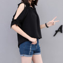 Lace / Chiffon Summer 2021 Black, red bean paste L 90-110kg, XL 110-130kg, 2XL 130-150kg, 3XL 150-170kg, 4XL 170-200kg Short sleeve commute Socket singleton  easy Regular One word collar Solid color routine 25-29 years old Bow, ruffle, Auricularia auricula, lace, bandage Korean version