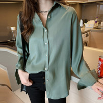 shirt Green, white, apricot M 85-100kg, l 100-110kg, XL 110-120kg, 2XL 120-130kg, 3XL 130-140kg, 4XL 140-150kg Spring 2020 polyester fiber 31% (inclusive) - 50% (inclusive) Long sleeves commute Medium length Polo collar Single row multi button shirt sleeve Solid color 25-29 years old Korean version