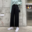 Casual pants Black, khaki, apricot L 100-115kg, XL 115-130kg, 2XL 130-150kg, 3XL 150-170kg, 4XL 170-200kg Autumn of 2019 Ninth pants Wide leg pants Natural waist commute routine 25-29 years old 31% (inclusive) - 50% (inclusive) Korean version Bandage polyester fiber