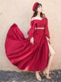 Dress Summer 2020 claret S,M,L longuette singleton  Long sleeves commute V-neck High waist Big swing Others 18-24 years old Retro