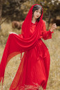 Dress Autumn 2020 Red (for Cape) S,M,L longuette singleton  Long sleeves Solid color