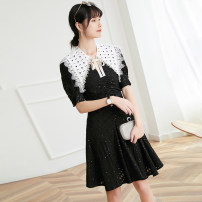 Dress Summer 2021 White, black S,M,L,XL Mid length dress singleton  Short sleeve commute other High waist Solid color Socket A-line skirt puff sleeve Others 25-29 years old Type A Sequins , Lace , Splicing , Frenulum , bow More than 95% Lace
