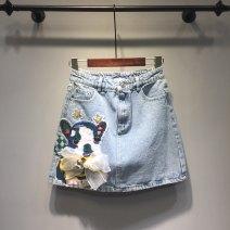 skirt Spring 2021 S,M,L,XL,2XL,3XL,4XL,5XL wathet Short skirt Versatile High waist A-line skirt Animal design Type A 18-24 years old More than 95% Denim Ocnltiy cotton