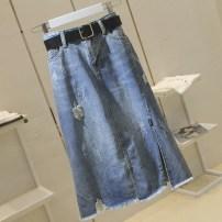 skirt Spring 2021 S,M,L,XL,2XL,3XL,4XL blue Mid length dress commute High waist A-line skirt Solid color Type A 18-24 years old A40 More than 95% Denim Ocnltiy Pockets, zippers, buttons, holes Korean version