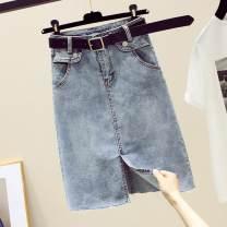 skirt Spring 2021 S,M,L,XL blue Mid length dress commute High waist A-line skirt Solid color Type A More than 95% Denim Ocnltiy Korean version