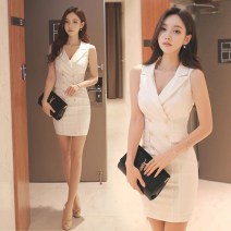 Dress Summer 2020 White, black S,M,L,XL Short skirt singleton  Sleeveless commute V-neck High waist Solid color Socket One pace skirt routine Others 25-29 years old Type H Ol style Fold, splice 51% (inclusive) - 70% (inclusive) brocade polyester fiber