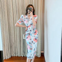 Dress Summer 2020 Picture color S,M,L,XL Mid length dress singleton  Short sleeve commute V-neck High waist Decor zipper Pencil skirt puff sleeve Others 25-29 years old Type X Other / other Korean version