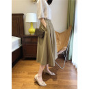 skirt Spring 2021 Pickle green longuette commute A-line skirt Solid color Type A other fold