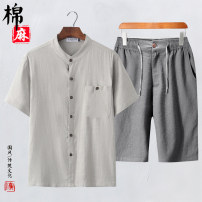 T-shirt Fashion City thin M. L, XL, 2XL, 3XL, 4XL (for 190-200 kg), 5XL (for 205-220 kg) Others Short sleeve stand collar easy daily summer 919/808 middle age routine Chinese style Slub yarn 2021 Solid color pocket Cotton and hemp Chinese culture No iron treatment Domestic non famous brands