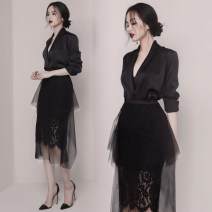 Dress Spring 2020 black S,M,L,XL Mid length dress Two piece set Long sleeves commute V-neck High waist Socket Ruffle Skirt 25-29 years old Type X Other / other Korean version