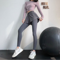 Fitness pants S,M,L female Black, gray, blue KZR96-16 annerun Yoga, fitness equipment hygroscopic and sweat releasing trousers High waist Tight trousers Winter 2020 polyester fiber