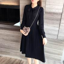 Dress Spring 2021 black XL,S,L,M Mid length dress singleton  Long sleeves commute Crew neck High waist Solid color Socket A-line skirt routine Type A Xi can Korean version 9586# knitting