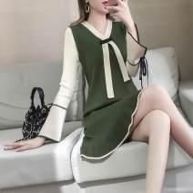 Dress Spring 2021 Black, green, caramel XL,L,M,S Middle-skirt singleton  Long sleeves commute V-neck High waist stripe Socket A-line skirt pagoda sleeve Type A Xi can Korean version 9263# knitting