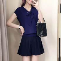 Casual suit Summer 2021 Royal Blue Top + Black pleated skirt suit, pleated black single skirt, royal blue single top M,L,XXXL,XL,XXL,S 9165# Other / other
