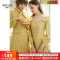 Dress Autumn of 2019 S,M,L,XL Mid length dress singleton  Long sleeves commute square neck lattice Single breasted A-line skirt routine Others 25-29 years old Type X OLrain lady Button other polyester fiber