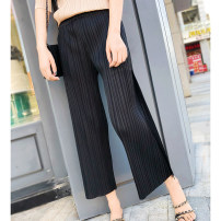 Casual pants Black, dark grey Average size Spring of 2019 Ninth pants Straight pants High waist commute routine Retro fold