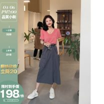 skirt Summer 2020 M. L, m (10 working days), l (10 working days) Grey and olive army green Middle-skirt commute High waist A-line skirt Solid color 25-29 years old DG02735 31% (inclusive) - 50% (inclusive) Daxi self made silk Retro