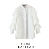 shirt white XS,S,M,L Spring 2020 other 71% (inclusive) - 80% (inclusive) Long sleeves street stand collar Single row multi button Solid color Europe and America