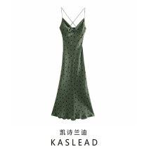 Dress Spring 2021 green XS,S,M,L Mid length dress street V-neck Dot Socket printing Europe and America