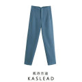 Casual pants Blue, green, khaki, black, rose, ground white, light green, orange powder, beige XS,S,M,L Spring 2021 trousers Straight pants High waist street Europe and America
