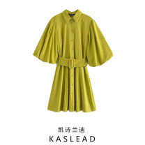 Dress Spring 2021 Grass green XS,S,M,L Middle-skirt Short sleeve street Polo collar Solid color Single breasted puff sleeve Button Europe and America