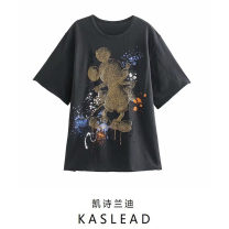 T-shirt Coal grey S,M,L Spring 2021 Short sleeve Crew neck Regular routine street cotton 86% (inclusive) -95% (inclusive) youth Cartoon animation Europe and America