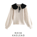 Wool knitwear Autumn 2020 S,M,L Beige Long sleeves Socket other 71% (inclusive) - 80% (inclusive) Regular street Doll Collar routine Socket bow Europe and America
