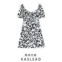 Dress Spring 2021 White printing S,M,L Short skirt Short sleeve street square neck Socket routine printing Europe and America