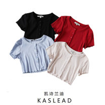Wool knitwear Summer 2020 S,M,L Black, red, blue, beige Short sleeve Cardigan other 71% (inclusive) - 80% (inclusive) have cash less than that is registered in the accounts street Self cultivation Low crew neck Solid color Single breasted Europe and America