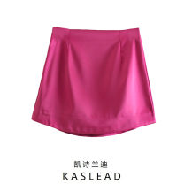 skirt Europe and America Summer 2021 Short skirt street Solid color S,M,L Purplish red, green