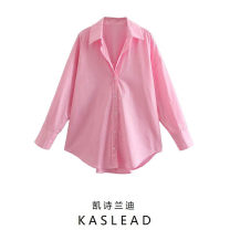 shirt Pink XS,S,M,L Spring 2021 cotton 81% (inclusive) - 90% (inclusive) Long sleeves street Regular Polo collar Single row multi button routine Solid color Button Europe and America