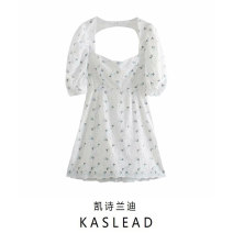 Dress Winter 2020 white S,M,L Short skirt Short sleeve street Socket Lace Europe and America