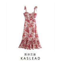 Dress Autumn 2020 Pink S,M,L Mid length dress street Broken flowers Socket printing Europe and America