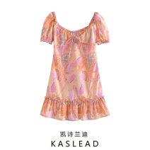 Dress Summer 2021 Pink S,M,L Short skirt Short sleeve street V-neck Decor Socket routine printing Europe and America