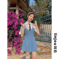 shirt White, blue XS,S,M,L Summer 2021 cotton 91% (inclusive) - 95% (inclusive) Short sleeve Sweet Regular other Single row multi button Solid color 18-24 years old Straight cylinder linjou 98933+55774 Pocket, button pure cotton