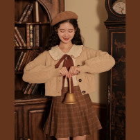 skirt Spring 2021 XS,S,M,L Brown Short skirt Sweet High waist Pleated skirt Solid color Type A 18-24 years old linjou polyester fiber Button