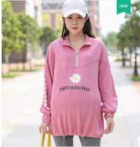 Sweater / sweater Spring 2021 Blue, gray, green, leather powder XL,2XL,3XL Long sleeves routine Socket singleton  routine stand collar easy routine letter 18-24 years old cotton Embroidery cotton Cotton liner zipper