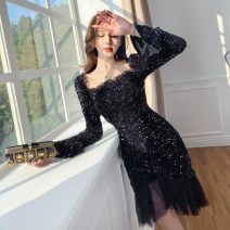 Dress Spring 2021 Black, shiny silver S,M,L,XL Mid length dress singleton  Long sleeves street square neck High waist Solid color zipper Ruffle Skirt Lotus leaf sleeve Others 25-29 years old Type X Other / other Flounce, stitching, Sequin, gauze mesh, zipper 81% (inclusive) - 90% (inclusive) velvet