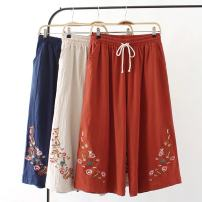Casual pants Dark blue, orange, beige XL,2XL Summer of 2018 Cropped Trousers Wide leg pants High waist commute Thin money 40-49 years old 51% (inclusive) - 70% (inclusive) 56A--6043--45 hemp ethnic style Embroidery hemp
