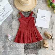 Dress gules female Other / other 80cm,90cm,100cm,110cm,120cm,130cm Other 100% summer Korean version Skirt / vest Solid color other A-line skirt X53975 Class B 18 months, 2 years old, 3 years old, 4 years old, 5 years old, 6 years old Chinese Mainland