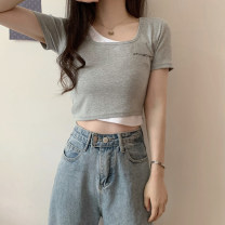 T-shirt Gray, white, black Average size Summer 2021 Short sleeve Self cultivation routine commute other 30% and below 18-24 years old Korean version youth Letters, solid color printing