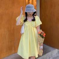 Dress Summer 2021 White, yellow Average size Middle-skirt singleton  Short sleeve commute V-neck middle-waisted Solid color Socket A-line skirt puff sleeve 18-24 years old Type A Korean version A918 30% and below other other