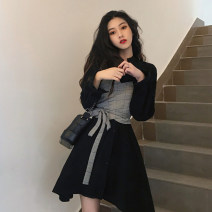 Dress Spring 2021 Black, khaki Average size Middle-skirt Fake two pieces Long sleeves commute other middle-waisted other A-line skirt routine 18-24 years old Type A Korean version Lace up, stitching