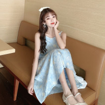 Dress Summer 2021 White shirt, apricot shirt, blue dress and yellow dress Average size longuette singleton  Sleeveless commute V-neck Loose waist Decor Socket A-line skirt camisole 18-24 years old Type A Korean version 30% and below