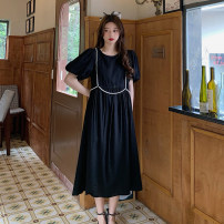 Dress Summer 2021 Khaki, black Average size longuette singleton  Short sleeve commute Crew neck High waist Solid color Socket A-line skirt puff sleeve Others 18-24 years old Type A Korean version 30% and below other other