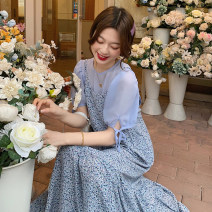 Dress Summer 2021 Average size longuette singleton  Sleeveless commute V-neck middle-waisted Solid color other Cake skirt routine camisole 18-24 years old Type A Korean version Splicing 30% and below other polyester fiber