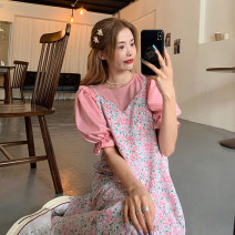 Dress Summer 2021 Shredded skirt piece, blue skirt piece, yellow shirt piece, pink shirt piece Average size longuette Two piece set Sleeveless commute V-neck Loose waist Broken flowers Socket A-line skirt other camisole 18-24 years old Type A Korean version 30% and below other other