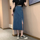 skirt Summer 2021 S,M,L,XL Light blue, dark blue Mid length dress commute High waist A-line skirt Solid color Type A 18-24 years old 30% and below other other Korean version