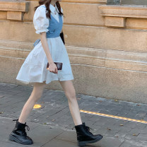 Dress Spring 2021 White shirt skirt piece, blue shirt skirt piece, light blue sling piece, dark blue sling piece Average size Middle-skirt singleton  Short sleeve commute Polo collar Loose waist Solid color Single breasted A-line skirt puff sleeve Others 18-24 years old Type A Korean version fold